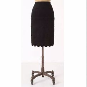 Maeve | Anthro Layered Scallop Black Pencil Skirt